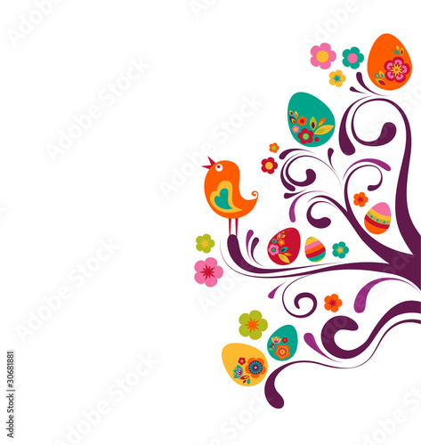 Wall Murals Birds, bees Easter branches