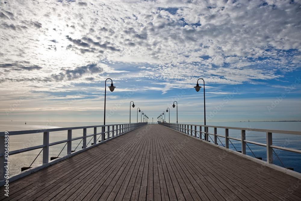Fototapeta Pier in the morning. Orlowo, Poland.