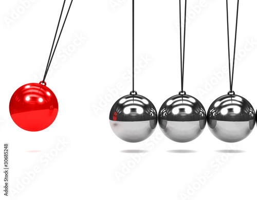 Photo 3d Newtons cradle red ball