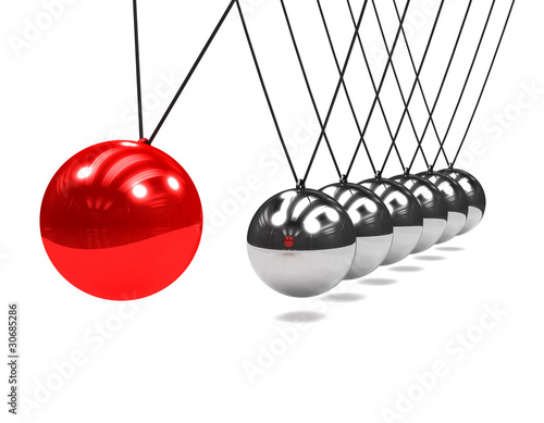 3d Newtons cradle red ball ...