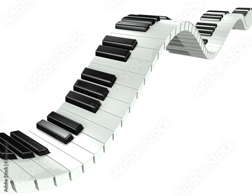 Fotografia, Obraz  3d Wave effect piano keyboard