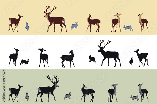deer and bunnies banners Poster