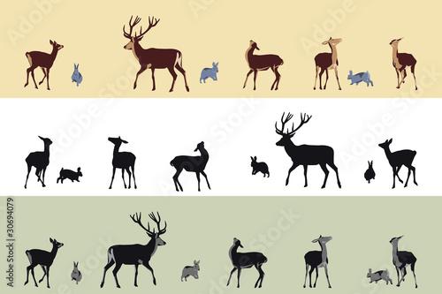 deer and bunnies banners плакат