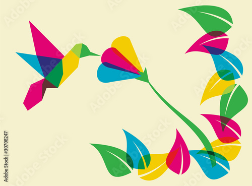 Poster Geometrische dieren Spring time humming bird and flower