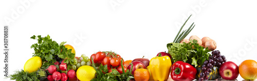 Tuinposter Verse groenten Large Fruit and vegetable borders