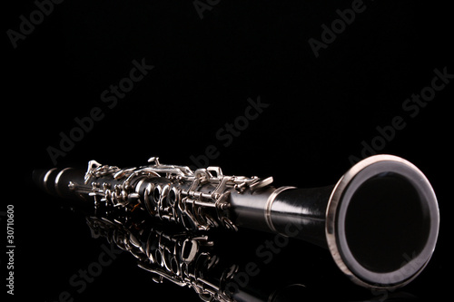 Clarinet isolated on black Fototapete