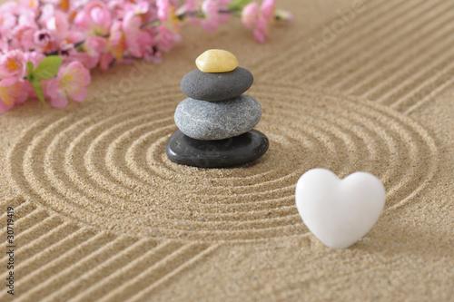 Foto op Plexiglas Stenen in het Zand zen garten