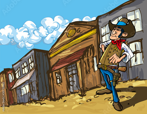 Aluminium Prints Wild West Cartoon cowboy in a western old west town