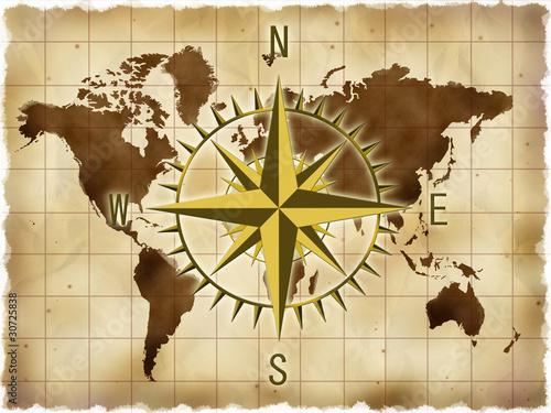 世界地図とコンパス