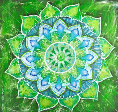 abstract green painted picture with circle pattern, mandala of a