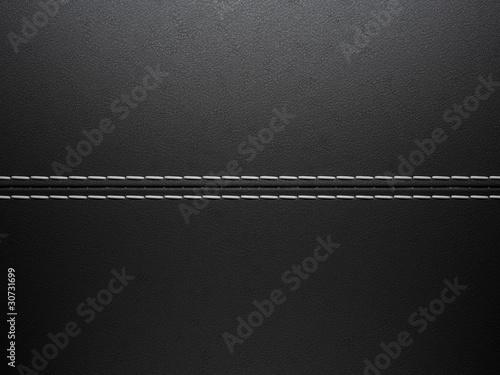 Black horizontal stitched leather background