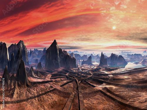 Poster Nouvelle Zélande Ruins of Alien Landing Site at Sunset