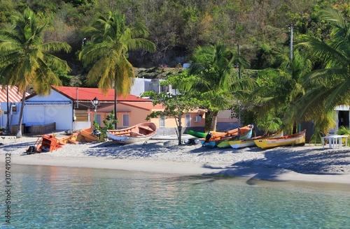 Photo Stands Caribbean Bateaux sur une plage
