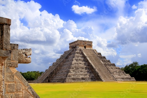 Poster Mexico Chichen Itza snake and Kukulkan Mayan pyramid