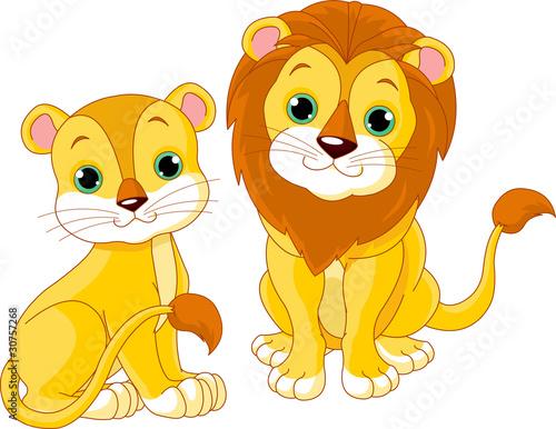 Foto op Canvas Katten Lion couple