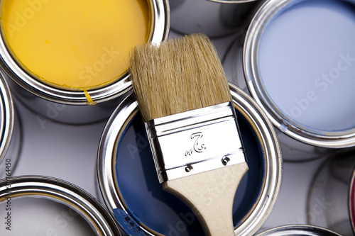 Fototapety, obrazy: Paint brush and cans