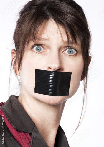 Femme Baillonnee silence de femme d'affaires baillonnée - buy this stock photo and