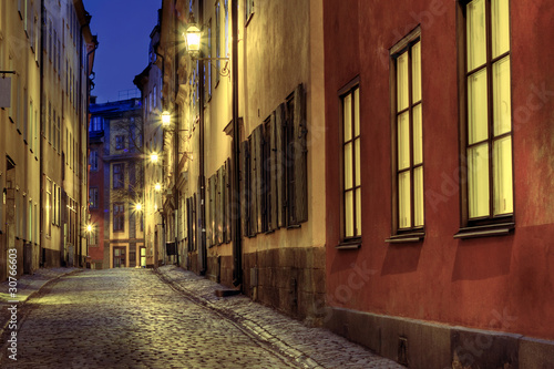 Canvas Prints Narrow alley Old Town illumination