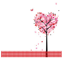 Pink Floral Tree, Heart Shape ...