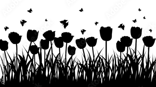 Poster Floral black and white meadow background