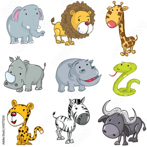Deurstickers Zoo Set of cute cartoon animals