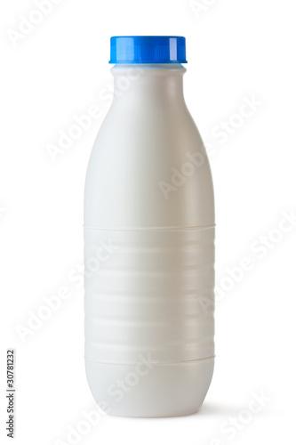 Fotografia, Obraz  Plastic bottle with blue lid for dairy foods