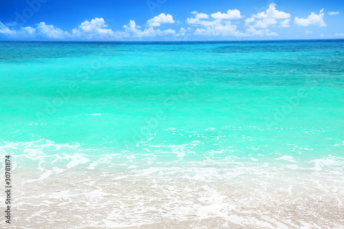 Tuinposter Groene koraal Beautiful blue sea beach