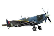 Beautifully Restored Vintage WW2 Spitfire Isolated On White
