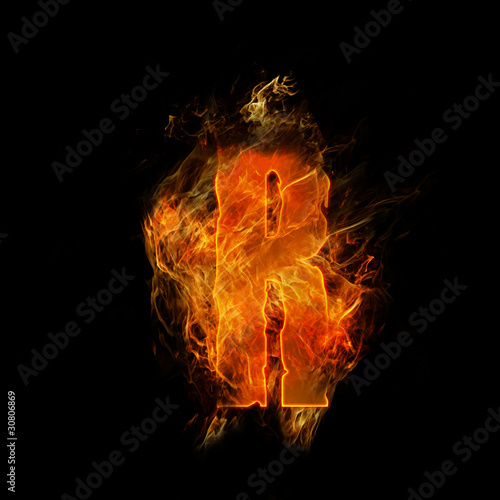 Wall Murals Flame fire letter R