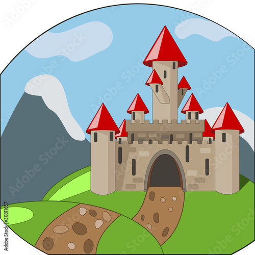 Poster Castle cartoon castleon background with mountains