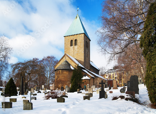 Photo  Gamle Aker Kirke - The oldest Church in Oslo, Norway