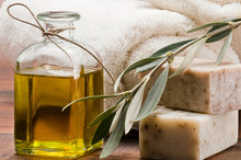 Olive Oil Soap And Bath Towel