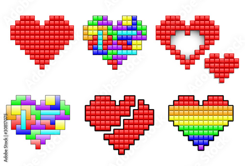 Foto op Aluminium Pixel Hearts made out pixels and colorful puzzle pieces