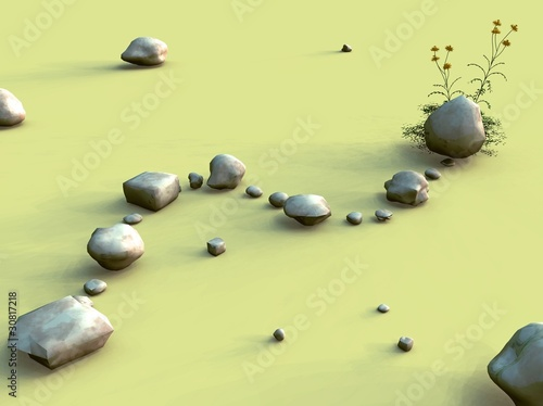 Recess Fitting Light, shadow The rocky path 3D illustration