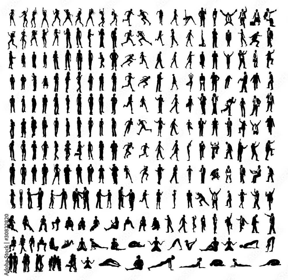 Fototapeta Many very detailed silhouettes including business, dancers, yoga