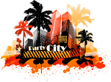 Summer Concept Abstract City Design With Palm Tree