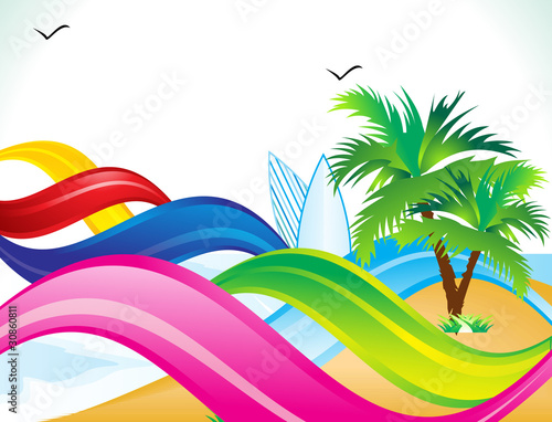Wall Murals Birds, bees abstract summer beach background