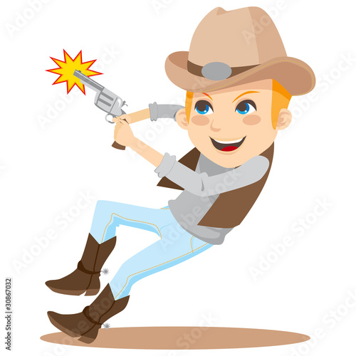 Aluminium Prints Wild West Boy shooting with revolver and wearing cowboy costume