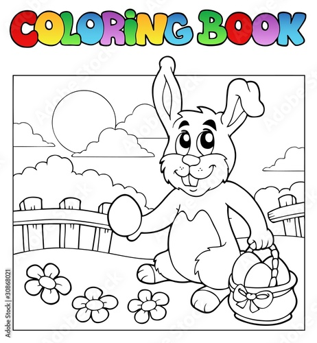 Spoed Foto op Canvas Doe het zelf Coloring book with bunny and eggs