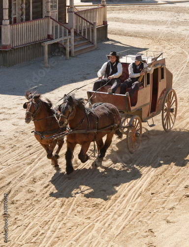 Valokuva  Sheriff and Deputy driving a stagecoach, Mini Hollywood, Spain