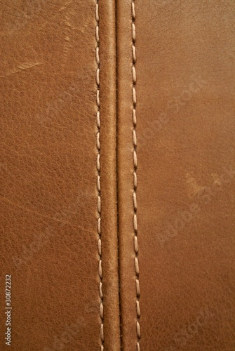 Foto op Canvas Leder brown leather texture with seam