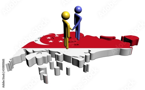 Photo  people shaking hands with Singapore map flag illustration