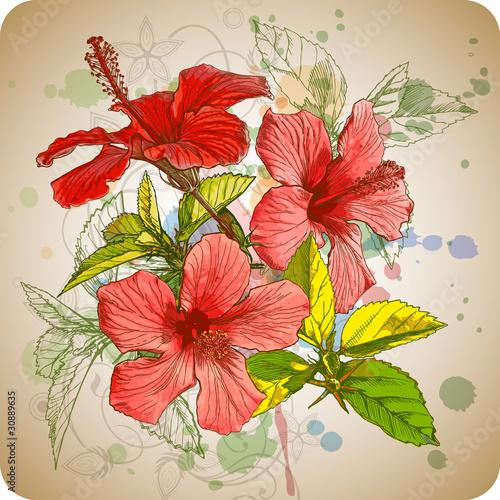 kwiaty-hibiskusa-i-tla-akwarela