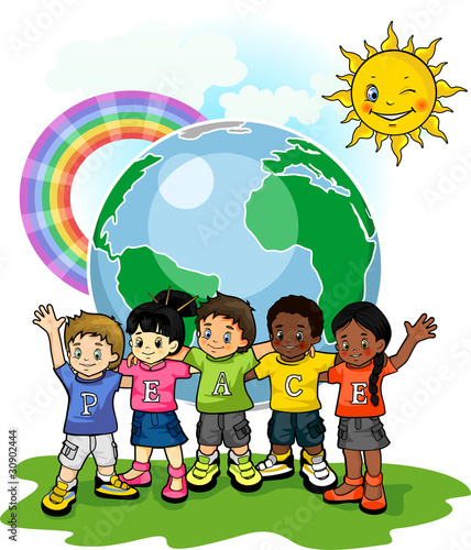 Deurstickers Regenboog Children united world of peace