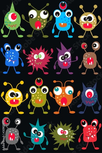 Deurstickers Schepselen seamless monster pattern