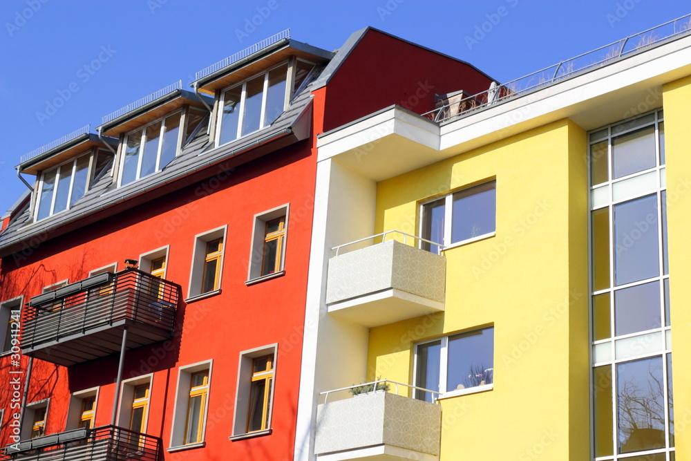 Fototapeta Sanierte Wohnhäuser