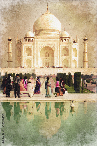 Photo  Taj Mahal, style photo ancienne