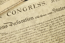 Replica Of The U.S. Declaration Of Independence, Closeup