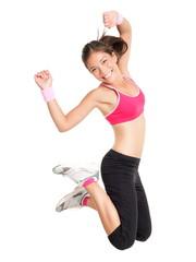 Fototapeta samoprzylepna Weight loss fitness woman jumping