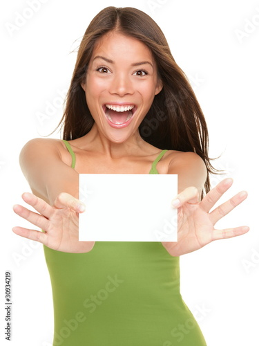 Photo  Gift card woman excited